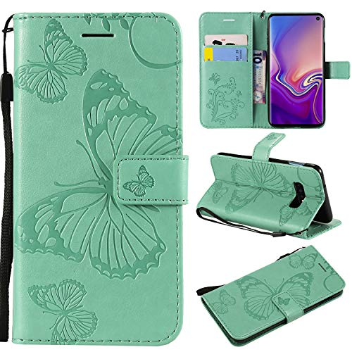 Cmeka Emboss Butterfly Wallet Case for Samsung Galaxy S10 Lite S10E Slim 3D Flip Leather Protective Case,Magnetic Closure,Credit Card Slots Holder,Kickstand Function (Mint Green) ()