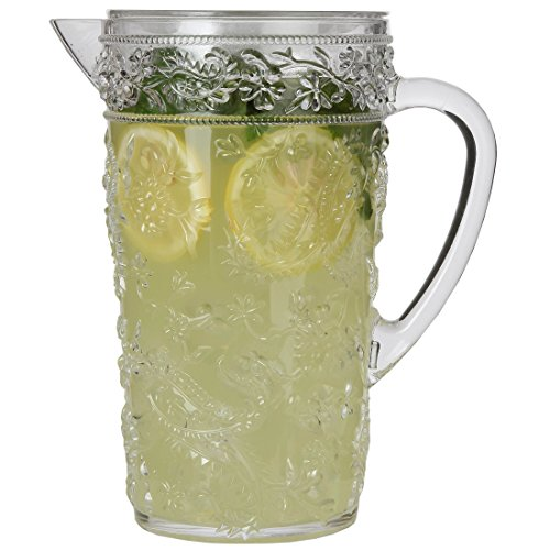 Lily's Home Break-Resistant Plastic Pitcher with Lid, Food Safe and BPA-Free, Elegant and Ideal for Indoor or Outdoor Use for Lemonade, Iced Tea, Paisley Design (80 oz. or 2.5 Quart Capacity)