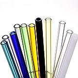 Siyaglass Set of 11 Glass Drinking Straws With Cleaning Brush 7.5 inch x 8 mm Handmade Straight Drinking Straws, Reusable Straws