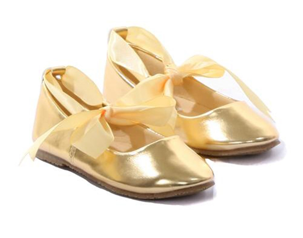 Dempsey Marie Toddler3 To Youth3 Ballet Flat Girl Shoe With Ribbon Tie In Gold – Toddler – 6
