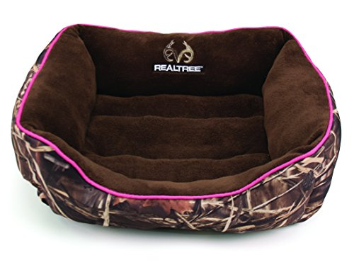 Dallas Manufacturing Co. Realtree Box Pet Bed for Dogs and Cats, Bolstered Walls for Support and Comfort, 100% Recycled Polyster Fill, Camo with Pink Piping, 25in x 21in