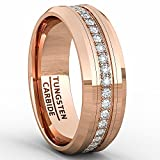 Duke Collections Rose Gold 8mm Tungsten Ring Polished Fully Stacked Cubic Zircon Beveled Edge Comfort Fit (8)