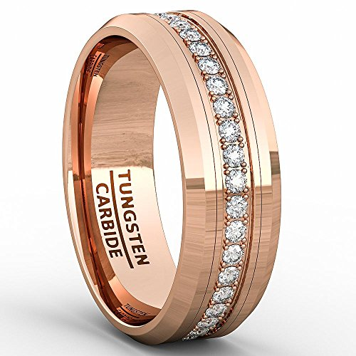 - Duke Collections Rose Gold 8mm Tungsten Ring Polished Fully Stacked Cubic Zircon Beveled Edge Comfort Fit (10.5)