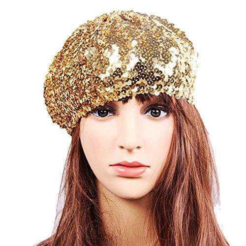 L'vow Women's Sparkle Sequins Stretch Beret Beanie Hat (Sequin Beret)