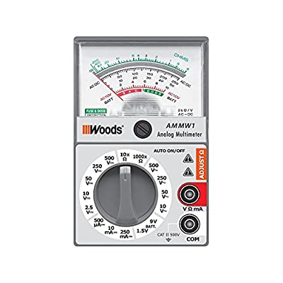 Woods AMMW1 Analog Multimeter - 5 Functions with 16 Measuring Ranges