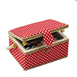 Sewing Basket Kit, Sewing Box Organizer - Includes Sewing Accessories/Removable Tray/Handle/ Built-in Pin Cushion & Interior Pocket - Red Polka Dot - Medium 9.5 x 6.9 x 5.1 inches - by D&D Design