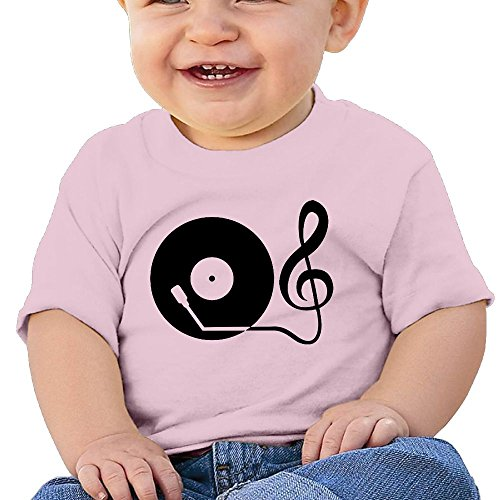Price comparison product image Record Player Child Short-Sleeve Round Neck Shirts Baby Undershirts O-Neck Tee - For Boys And Girls Pink 6 M