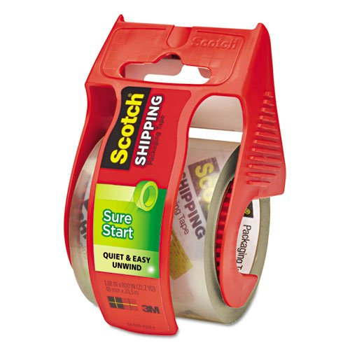 3M Sure Start Shipping Packaging Tape with Dispenser, 2 I...