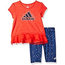adidas Baby Girls' Short Sleeve Tee and Capri Set