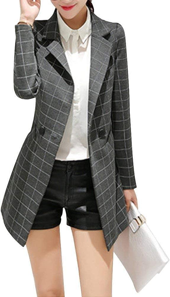 TALLA XXL. Mujer Blazer Moda Primavera Otoño Talla Grande Chaqueta De Traje Chic Ropa Elegante Manga Largo De Solapa Classic Cuadros Negocios Oficina Cazadoras Outerwear Slim Fit