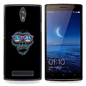 "Qstar Arte & diseño plástico duro Fundas Cover Cubre Hard Case Cover para OPPO Find 7 X9077 X9007 (Pink Beach Gafas de sol del gorila"")"