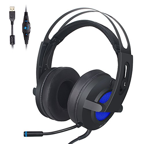 Gaming Headset, MFEEL 7.1 Surround Sound Stereo Vibration Headset,USB Over Ear LED Games Headphone with Microphone for PC