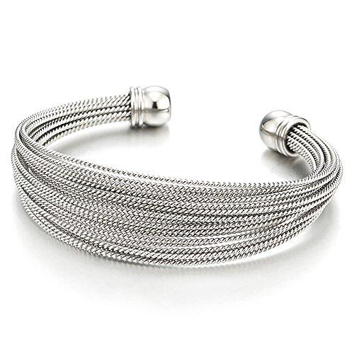 COOLSTEELANDBEYOND Womens Girls Stainless Steel Multi-Strand Adjustable Cuff Bangle Bracelet ()