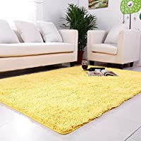 USTIDE Yellow Chenille Rugs Shaggy Washable Kitchen Area Rug Sets Thick Indoor Non Slip Floor Mat Living Room Rugs 2X3