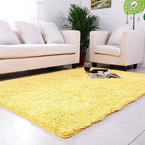 Washable Rugs For Kitchen Area: Amazon.com: USTIDE Yellow Chenille Rugs Shaggy Washable