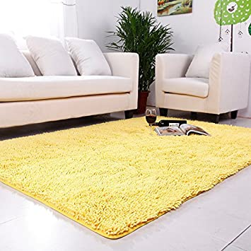 Ustide Yellow Chenille Rugs Shaggy Washable Kitchen Area Rug Sets Thick  Indoor Non Slip Floor Mat