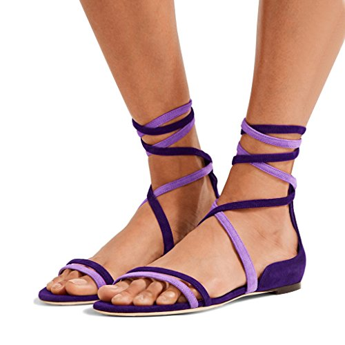 YDN Women's Suede Lace Up Flats Sandals Open Toe Ankle High Gladiator Shoes Comfy Mix-Purple 7 (Suede Purple Sandals)