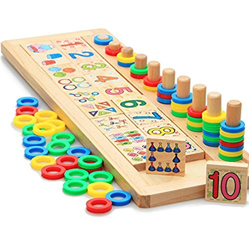 Xin store Montessori Materials Wood Math Blocks Shape Sorter Number and Stacking Learning Toys]()