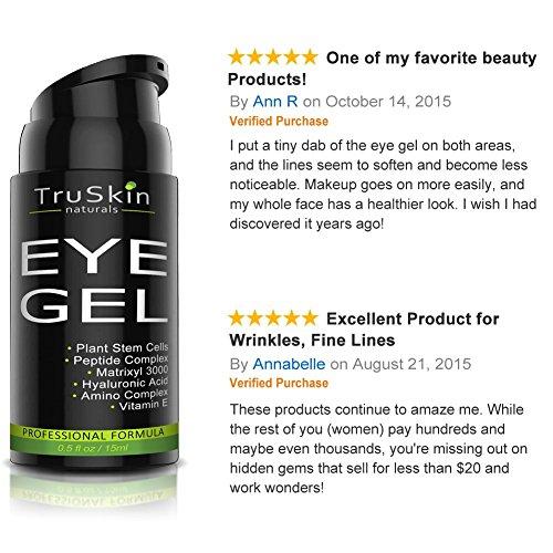 Eye Gel for Wrinkles, Fine Lines, Dark Circles, Puffiness & Bags - 100% Natural, 75% ORGANIC, With Hyaluronic Acid, Jojoba Oil, MSM, Peptides & More - Refreshing Eye Cream Alternative