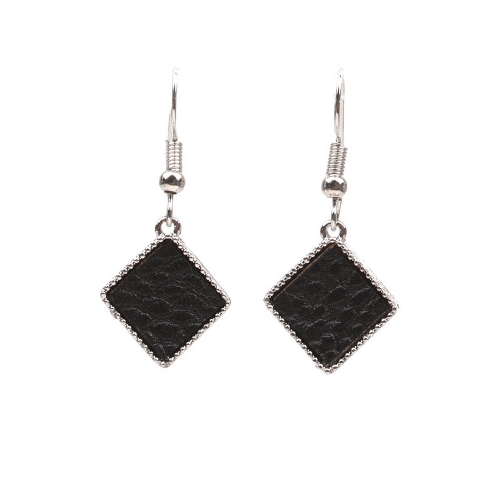 Sterling Silver Plated Vintage Beads Sided Black Onyx Agate Square Charm Drop Dangle Earrings