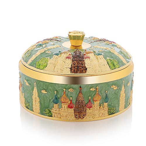 LAUYOO Vintage Windproof Ashtray with Lid Metal Portable Smokeless Cigarettes Ashtray for Outdoor Indoor Decorative Ashtray for Home Office(Gold-Green)