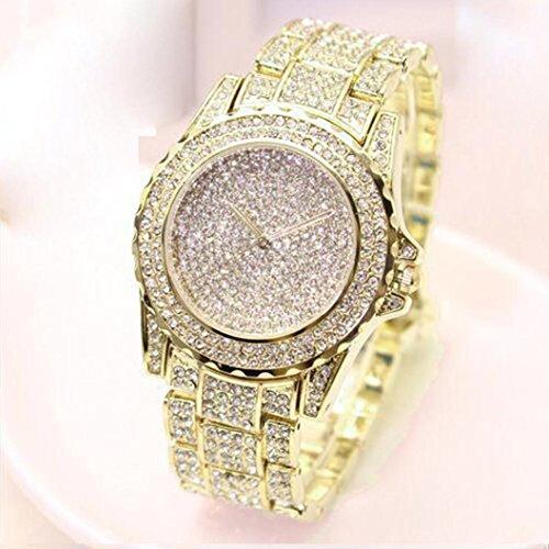 Hot Sale! Women Ladies Luxury Diamond Bling Bracelet Jewelry Watches Crystal Analog Quartz Dress Wrist Watch (Gold) from Tloowy