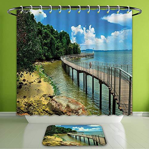 Waterproof Shower Curtain and Bath Rug Set Coastal Boardwalk On The Bridge Singapore Island Rural View Sandy Beach Summert Bath Curtain and Doormat Suit for Bathroom Extra Long Size 72