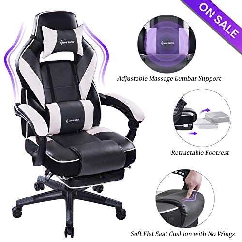 VON RACER Massage Reclining Gaming Chair – Ergonomic High-Back Racing Computer Desk Office Chair with Retractable Footrest and Adjustable Lumbar Cushion