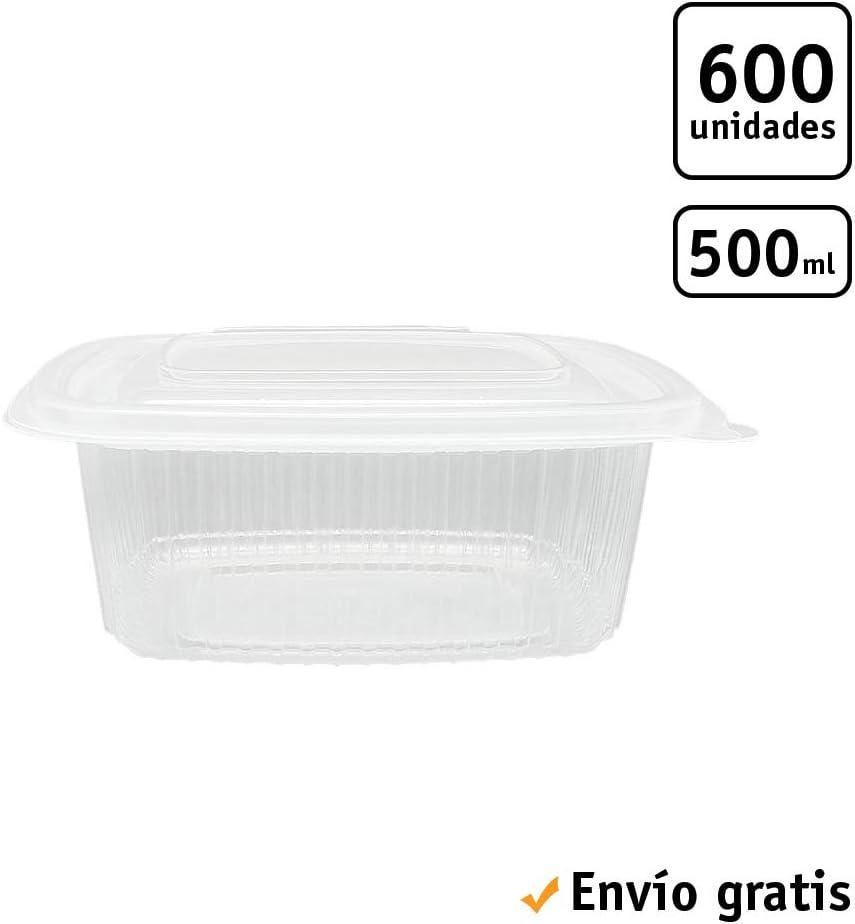 TELEVASO - 600 uds - Envase/Recipiente para Comida con Tapa bisagra Oval - Capacidad 500 ml - Polipropileno (PP) Transparente - Contenedores Desechables con Tapa, Apto para microondas