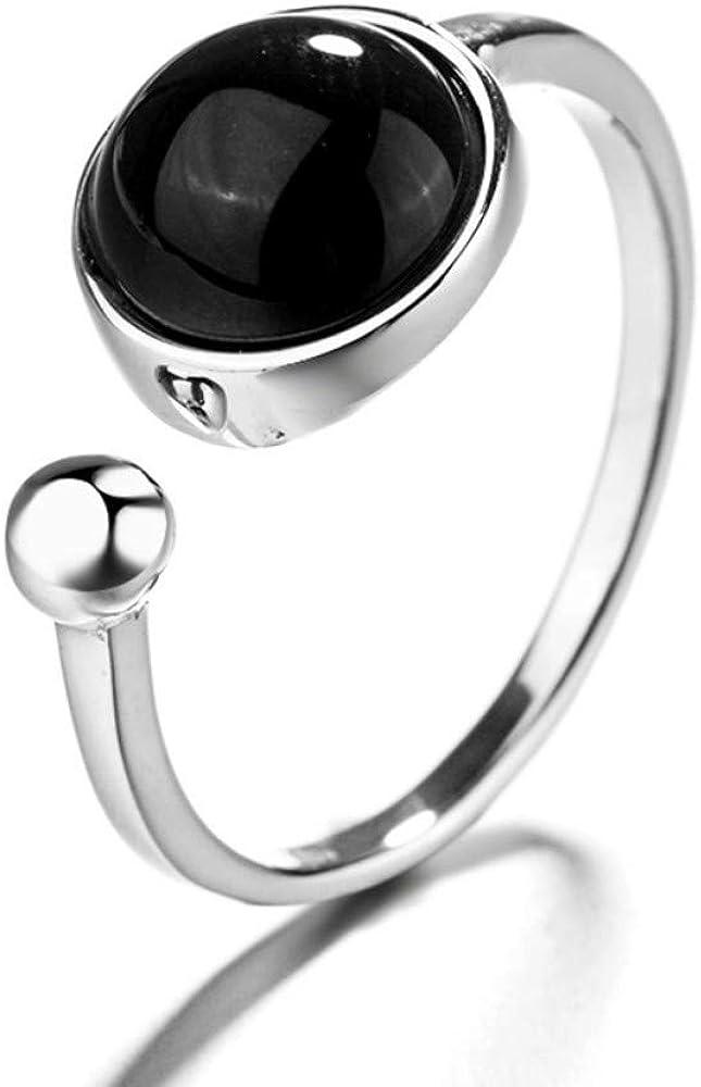 Jewelry CCF Plata tailandesa ágata Negra señoras Anillos Dedo índice joyería Moda Salvaje Personalidad Tendencia Creatividad Estudiantes Regalos Apertura Ajustable