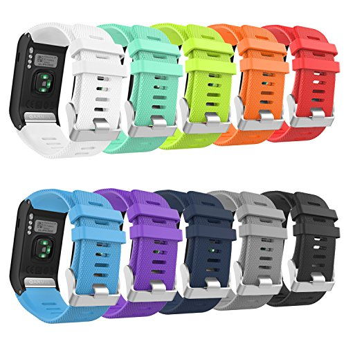 Garmin Vivoactive HR Watch Band, MoKo [10 PACK] Soft Silicone Replacement Watch Band ONLY for Garmin Vivoactive HR Smart Watch, 10PCS (Multi-Colors) by MoKo