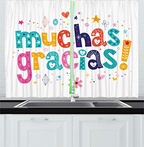 Ambesonne Mexican Kitchen Curtains, Spanish Thank You Words with Cartoon Style Hearts Diamonds Flowers Artwork, Window Drapes 2 Panel Set for Kitchen Cafe Decor, 55