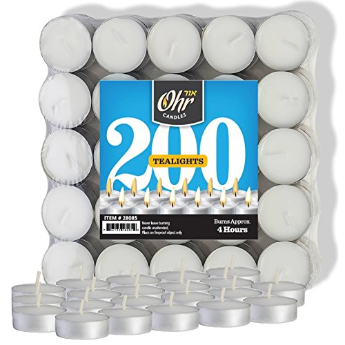 (Ohr Tea Light Candles - 200 Bulk Pack - White Unscented Travel, Centerpiece, Decorative Candle - 4 Hour Burn Time - Pressed Wax - By)