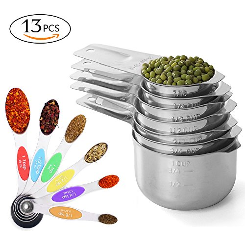 Prodigen Stainless Steel Measuring Cups & Measuring Spoons Set Metal Liquid And Dry Tablespoon Measuring Cups Kitchen Magnetic Measuring Spoons for Baking,Cooking for Food Oval Tablespoon