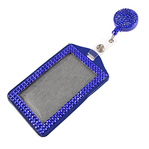 Purely Handmade Fashion Royal Blue Bling Crystal Lanyard Cute Rhinestone Badge Reel + Vertical Card Holder for Business Id Card ()