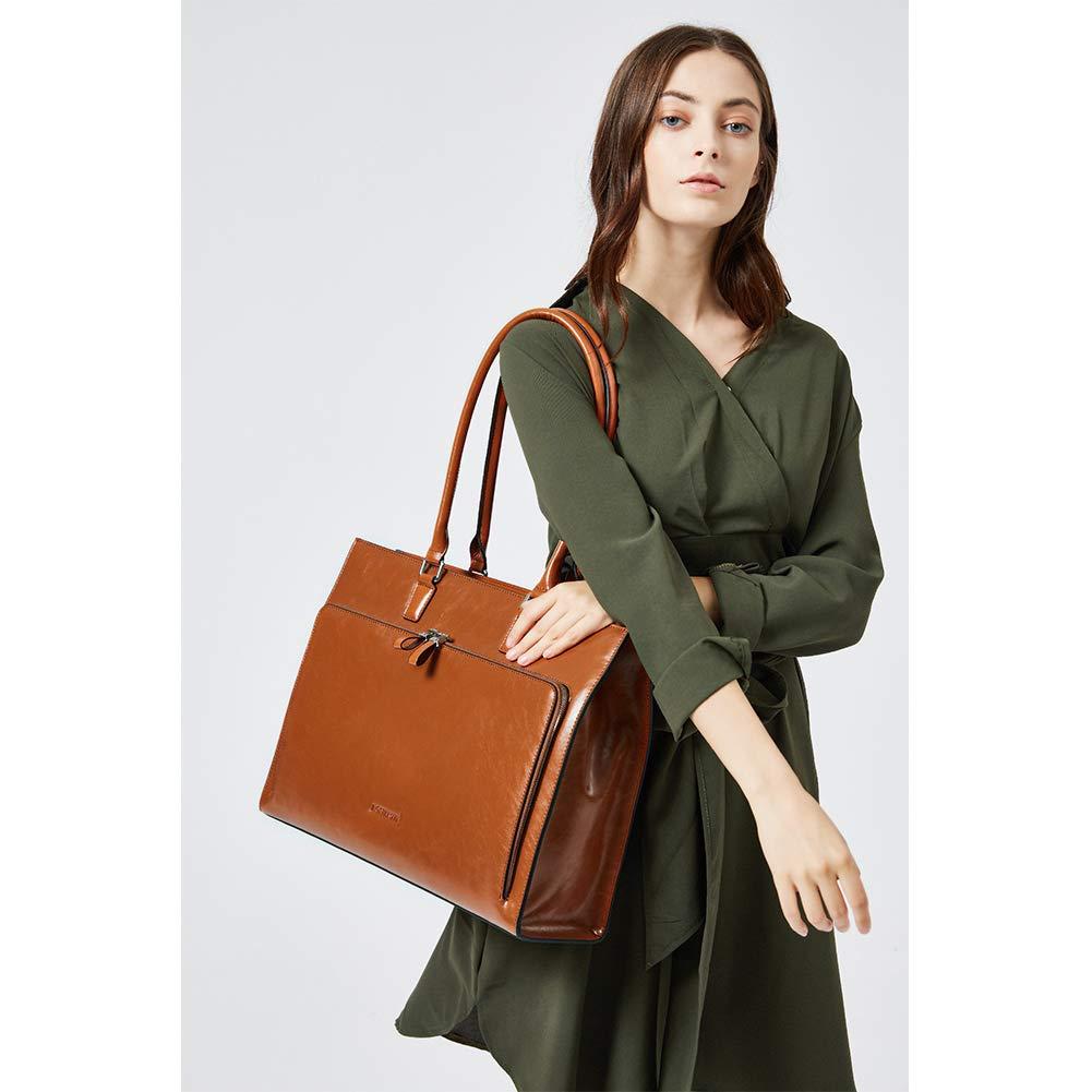 BOSTANTEN Women Leather Briefcase Vintage Shoulder 15.6'' Laptop Tote Handbags Brown by BOSTANTEN (Image #8)
