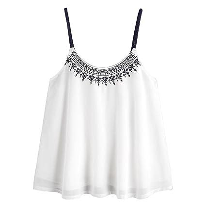 LILICAT® Camisetas sin Mangas de la Gasa para Mujer Chicas Adolescentes Sexy Blusa Tops Bordada