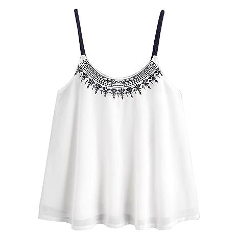 LILICAT Camisetas sin Mangas de la Gasa para Mujer Chicas Adolescentes Sexy Blusa Tops Bordada Verano