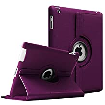 Fintie Apple iPad 2/3/4 Case - 360 Degree Rotating Stand Smart Case Cover for iPad with Retina Display (iPad 4th Generation), the new iPad 3 & iPad 2 (Automatic Wake/Sleep Feature), Purple