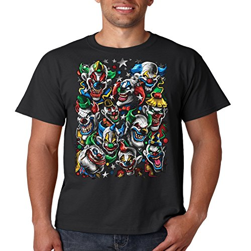 Cool T Shirt Colored Clown Stack Liquid Blue Mens Tee S-5XL (Black, (Wicked Jester Tattoos)