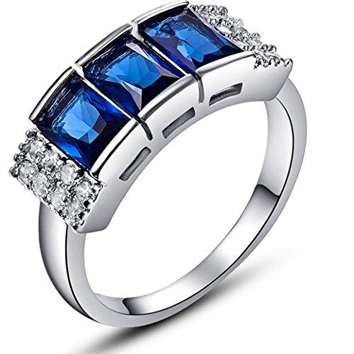 (Narica Womens Fancy 4mmx6mm Radiant Cut Sapphire Quartz Cubic Zirconia Engagement Ring)