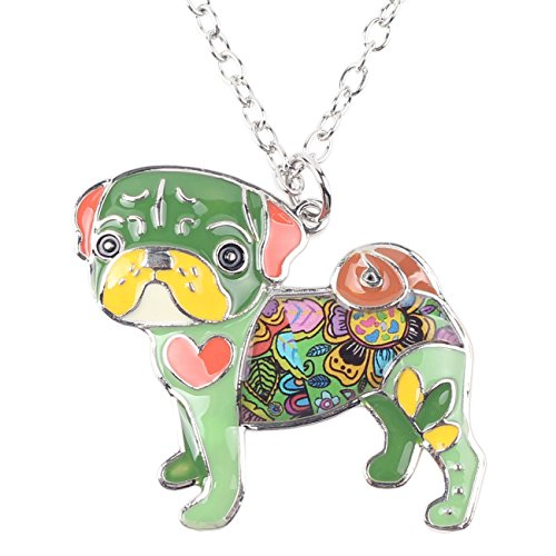 BONSNY Love Heart Enamel Zinc Alloy Metal Pug Dog Necklace Bulldog Animal pendant 18
