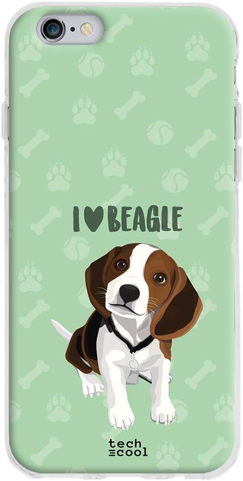 Funnytech® Funda Silicona para iPhone 6 /iPhone 6S [Gel Silicona Flexible, Diseño Exclusivo] Mascotas I Love Beagle Fondo Verde