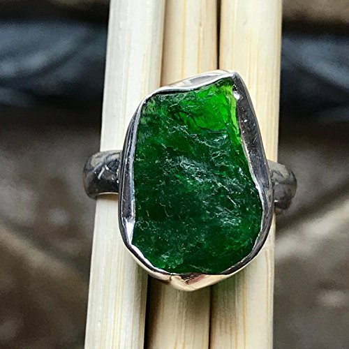 Chrome Diopside - Natural Chrome Diopside, Raw Chrome Diopside, Russian Diopside, Green Diopside 925 Sterling Silver Cluster Ring sz 6.5