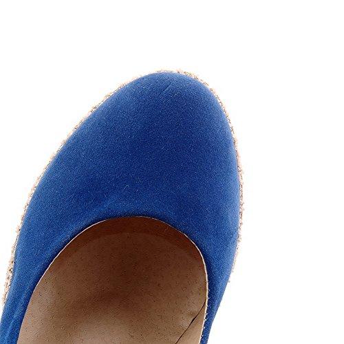 AllhqFashion Mujer Sin cordones Tacón Alto Gamuza(Imitado) Sólido Puntera Cerrada Puntera Redonda De salón Azul