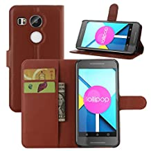 Nexus 5X Case, Premium Leather Wallet Case Cover with Stand Card Holder for LG Google Nexus 5X / 5 2nd Gen 2015 Phone (NOT for Nexus 5 2013) (Wallet - Brown)