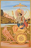 Lord Shani (Saturn) - Water Color Painting On Cotton Fabric