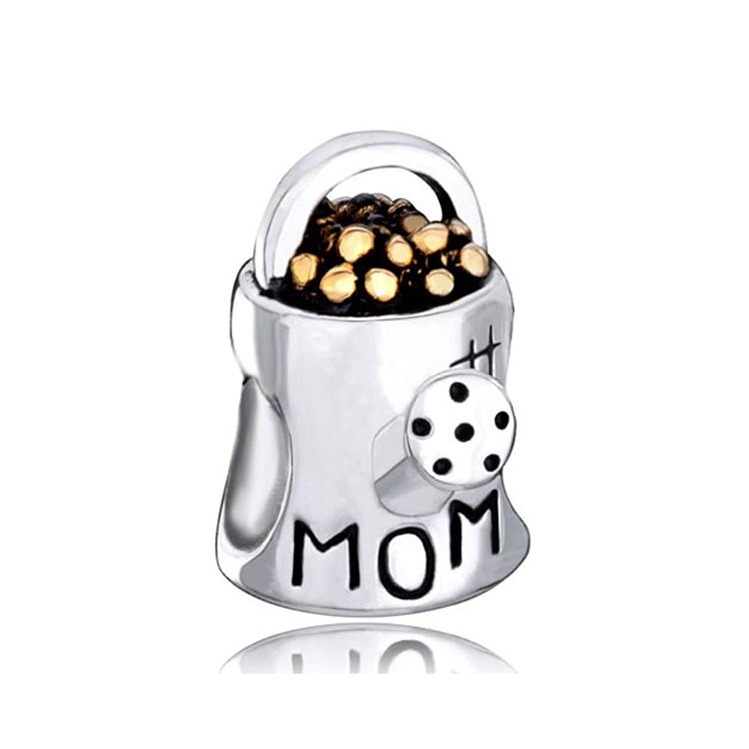 CharmSStory Sterling Silver Love Mom Watering Flower Pot Charm Beads For Bracelets