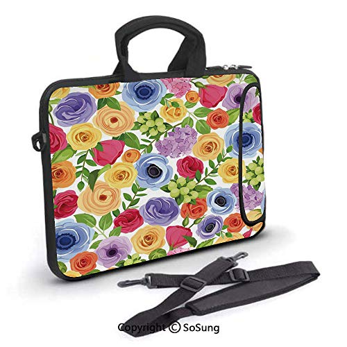 12 inch Laptop Case,Ornate Colorful Fresh Flowers of Summer Season Forest with Green Leaves Neoprene Laptop Shoulder Bag Sleeve Case with Handle and Carrying & External Side Pocket,for Netbook/MacBook