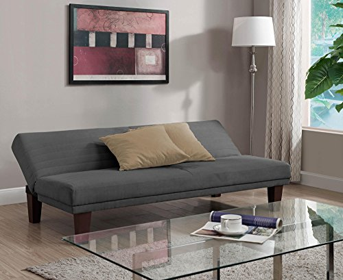 DHP Dillan Convertible Futon Couch Bed with Microfiber Upholstery and Wood Legs - Grey by DHP (Image #5)